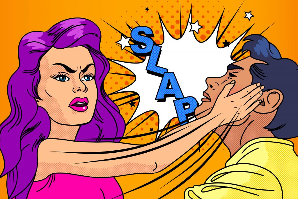 Cartoon image of a woman slapping a man in the face